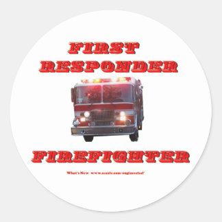 First Responder Firefighter. Classic Round Sticker