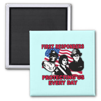 First Responders Tshirts, Bags, Travel Mugs 2 Inch Square Magnet