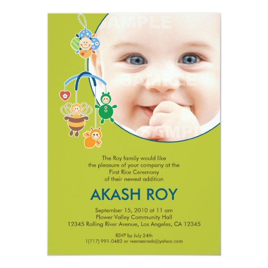 First Rice Ceremony Baby Mobile Invitation Zazzle Com