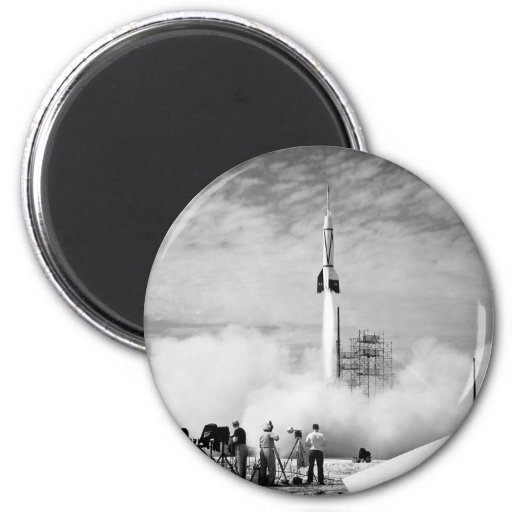 """First Rocket Launch, Cape Canaveral, """"Bumper 2"""" 2 Inch Round Magnet"""