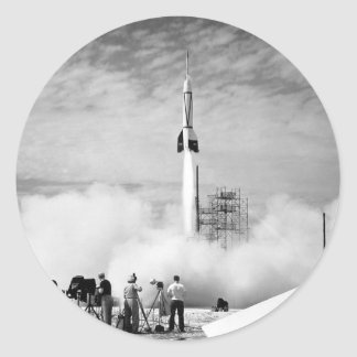 """First Rocket Launch, Cape Canaveral, """"Bumper 2"""" Classic Round Sticker"""