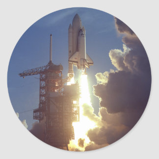 First Shuttle Launched Classic Round Sticker