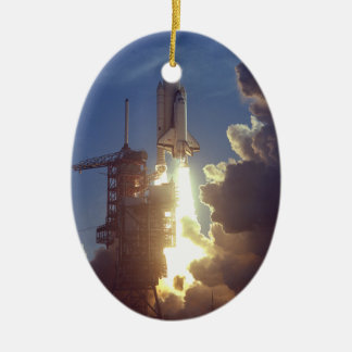 First Shuttle Launched Double-Sided Oval Ceramic Christmas Ornament