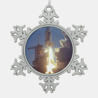 First Shuttle Launched Snowflake Pewter Christmas Ornament