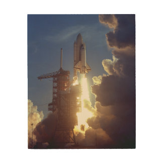 First Shuttle Launched Wood Wall Art