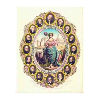First Sixteen USA Presidents 1861 Stretched Canvas Print