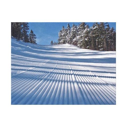 First ski tracks canvas print