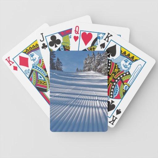 First ski tracks card decks