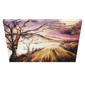 First snow stretched canvas print
