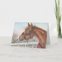 First Snow, Christmas Card, horse in the snow Holiday Card