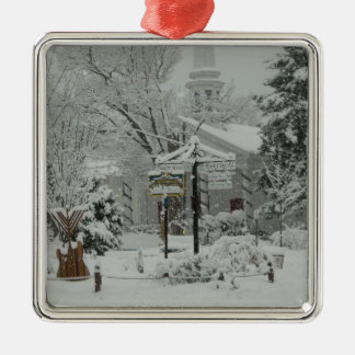 First Snow Fall Town Square Woodstock,NY Metal Ornament