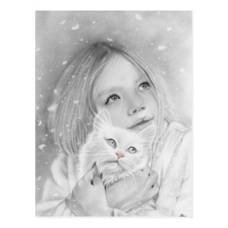 First snow girl kitty Postcard