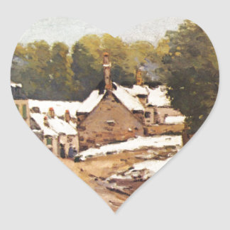 First Snow in Louveciennes by Alfred Sisley Heart Sticker