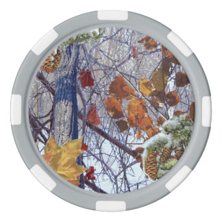 First Snow Winter Camouflage Print Poker Chips