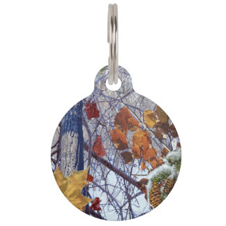 First Snow Winter Scene Camouflage Painting Pet Name Tag