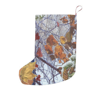 First Snow Winter Scene Camouflage Painting Small Christmas Stocking
