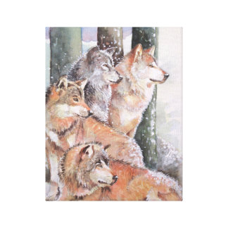 First Snow. Wolf Pack. Red Wolves. Canvas Print