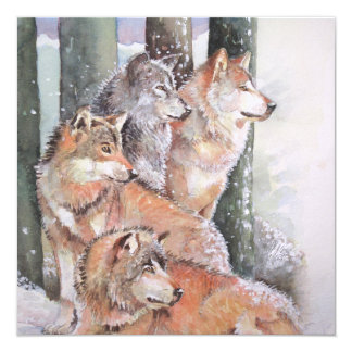 First Snow. Wolf Pack. Red Wolves. Card