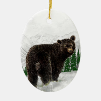 First Snowfall Black Bear Mountain Wilderness Double-Sided Oval Ceramic Christmas Ornament