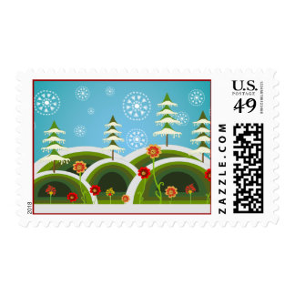First Snowfall for Christmas Postage Stamps