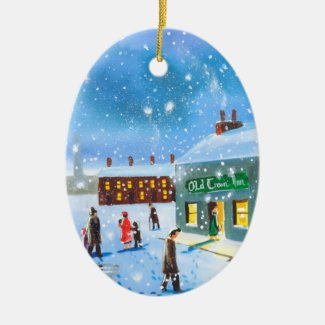 First snowfall winter painting ceramic ornament