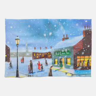 First snowfall winter painting kitchen towel