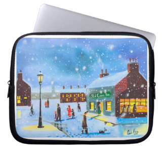 First snowfall winter painting laptop sleeve