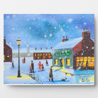 First snowfall winter painting plaque