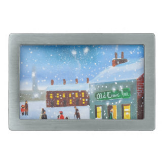 First snowfall winter painting rectangular belt buckle