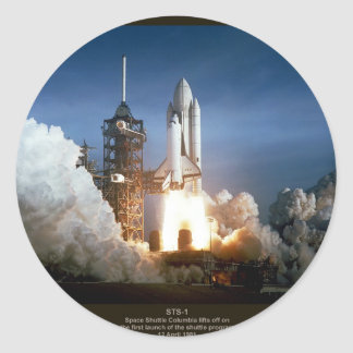 First Space Shuttle launch STS-1 Columbia Classic Round Sticker