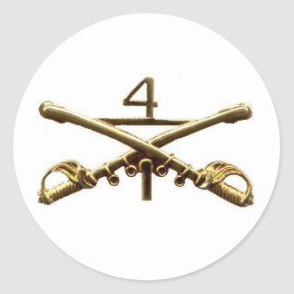 First Squadron Fourth Cavalry Brass Classic Round Sticker