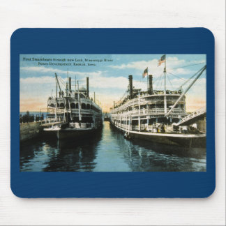 First Steamboats through new Lock, Keokuk, Iowa Mouse Pad