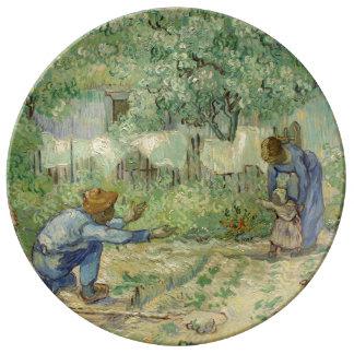 First Steps after Millet by Vincent Van Gogh Porcelain Plate