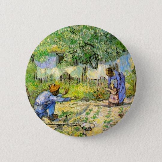 First Steps (after Millet) Van Gogh Fine Art Button