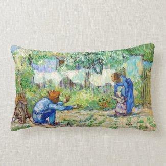 First Steps (after Millet) Vincent van Gogh art Throw Pillows