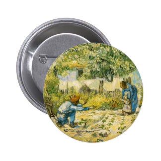 First Steps by Vincent van Gogh 1890 Pinback Button