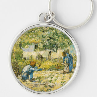 First Steps by Vincent van Gogh 1890 Silver-Colored Round Keychain