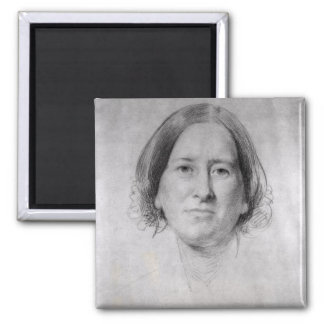 First Study for the Portrait of George Eliot 2 Inch Square Magnet