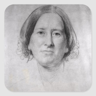 First Study for the Portrait of George Eliot Square Sticker