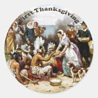First Thanksgiving Classic Round Sticker