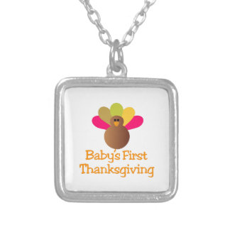 First Thanksgiving Square Pendant Necklace