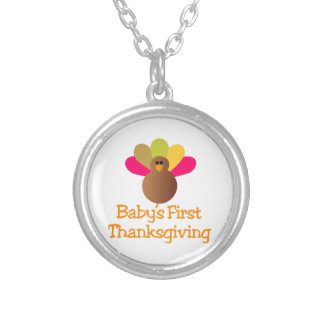 First Thanksgiving Round Pendant Necklace