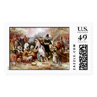 first thanksgiving postage stamp
