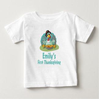 First Thanksgiving Turkey Eating Pumpkin Baby T-Shirt