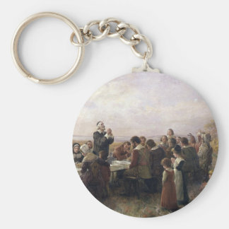 First Thanksgiving Vintage Painting Keychain