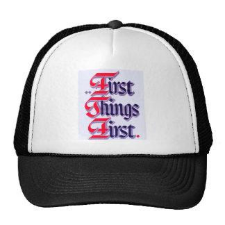 First Thing First T Shirt Trucker Hat
