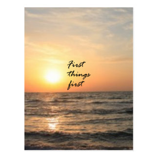 First Things First Postcard