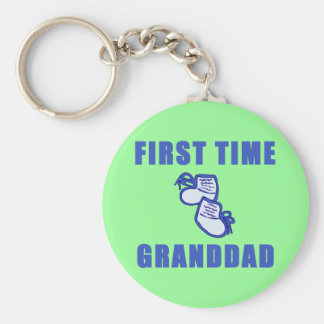 First Time Granddad Tshirts and Gifts Keychain