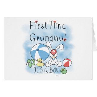 First Time Grandma Baby Boy Greeting Card