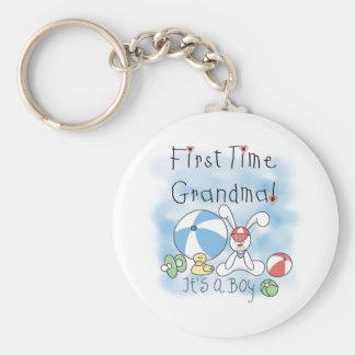 First Time Grandma Baby Boy Keychain